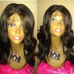 "16"" Brazilian straight human hair wig"